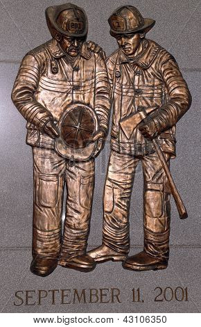 FDNY fallen firefighters memorial in Brooklyn, NY. 343 firefighters were killed on September 11,2001
