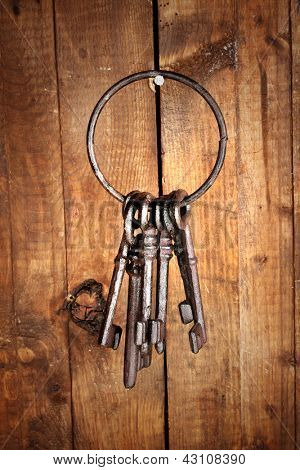 Bunch of old keys hanging on wooden wall