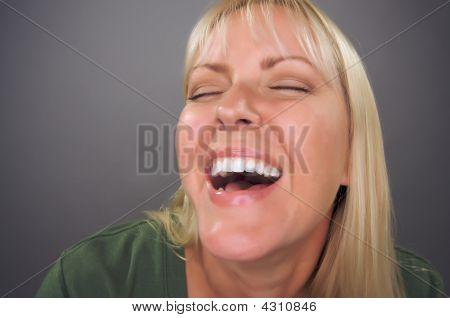 Beautiful Blond Woman Laughing