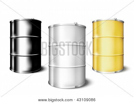 Metal drum barrels set