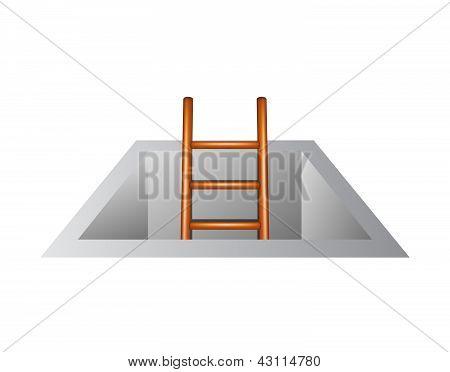 Wooden ladder leading from underground