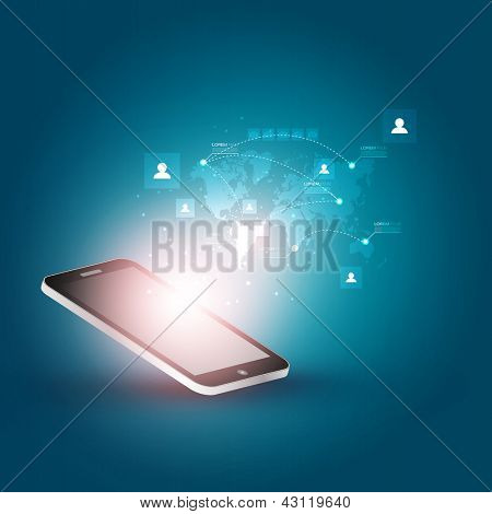 Futuristic Mobile Phone Vector Illustration with Holographic World Map and Social Media Icons | EPS10 Design