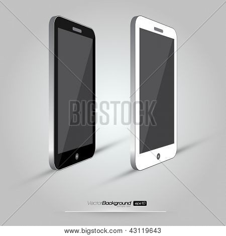 3D Realistic Smart Phone Template (White and Black Variation) | EPS10 Vector Design Illustration