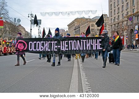 Kiev - Mar 08: Youth Feminist Demonstration In Kiev, Ukraine On March 08, 2013.