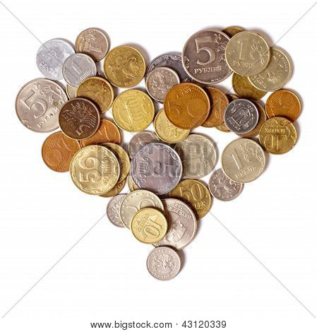 Coins are in the shape of a heart
