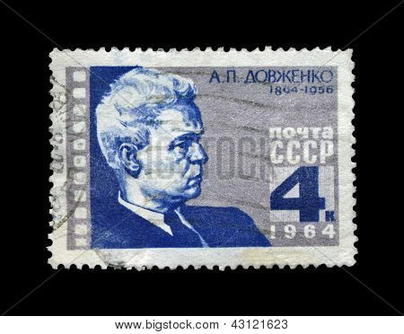 Ussr - Circa 1964: Canceled Stamp Printed In The Ussr, Shows Famous Ukrainian Film Producer Alexande