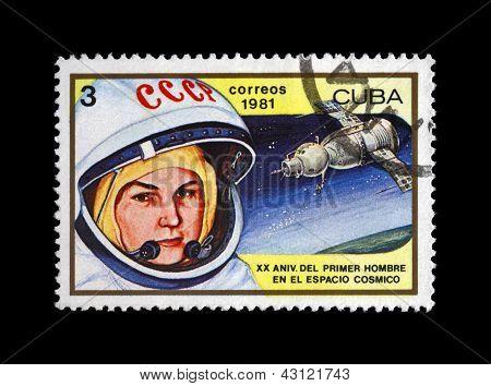 Cuba - Circa 1981: Canceled Stamp Printed In Cuba, Shows Soviet Astronaut Valentina Tereshkova - 1S
