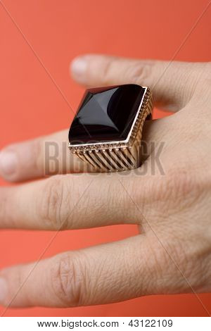 Ring With Obsidian