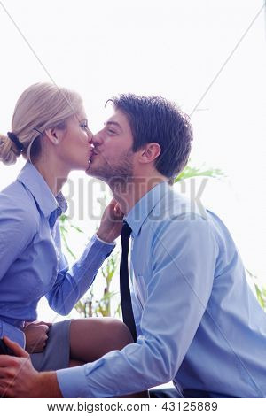 business people in love  have romantic time at workplace