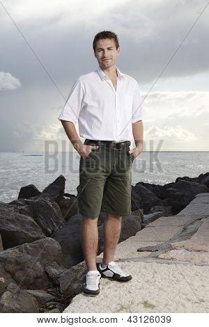 Sympathetic man on holiday
