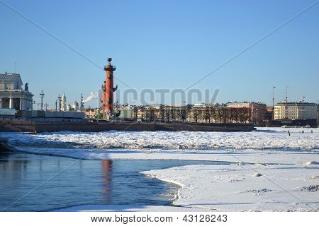 Vasilevsky Island At Winter