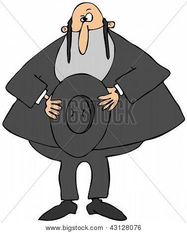 Rabbi holding his hat