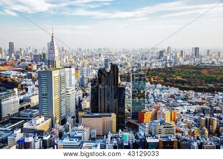 Paisaje de tarde de Shinjuku, Tokio, Japón.