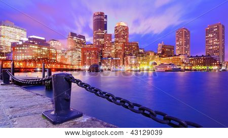 Financial District of Boston, Massachusetts viewed from Boston Harbor.