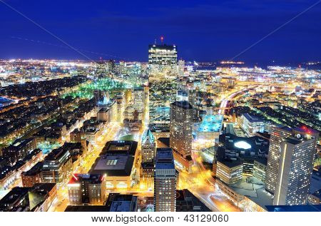 Aerial view of downtown Boston, Massachusettes, USA.