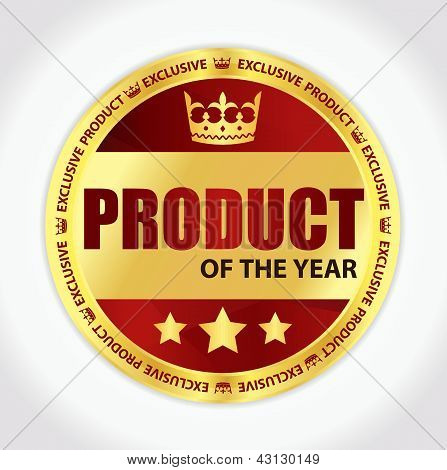 Product Of The Year Badge With Golden Ribbon And Red Background