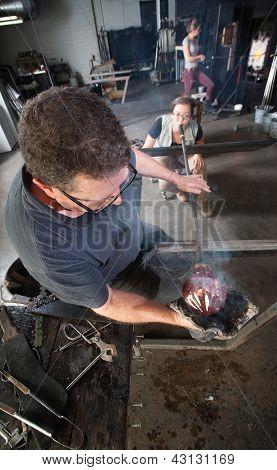 Workers Making Fine Art Glass