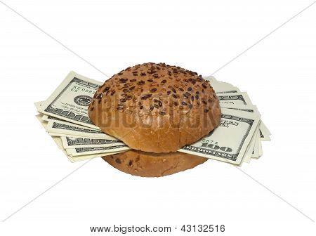 Hamburger With Dollars