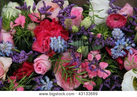Wedding Arrangement In Blue And Pink