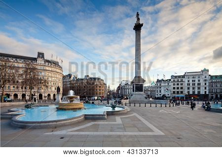 Trafalgar Square And Nelson's Column In The Evening