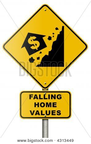 Falling Home Values Double Sign On White Background