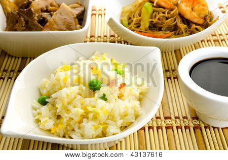 Chinese food dishes, cantonese rice, noodles, beef with bamboo