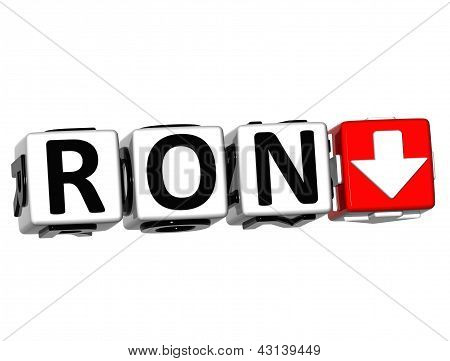 3D Romanian Leu Currency Ron Button Click Here Block Text
