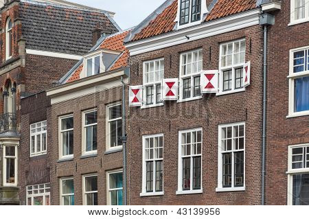 Facade Of Old Houses In Dutch City Utrecht