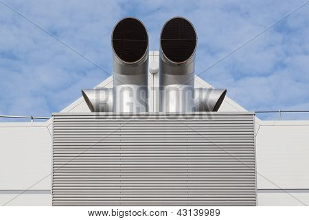 Factory Building With A Big Ventilation System