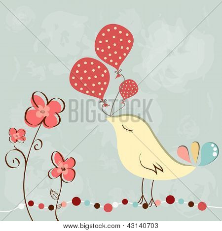 Little bird with balloon