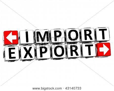 3D Import Export Button Click Here Block Text