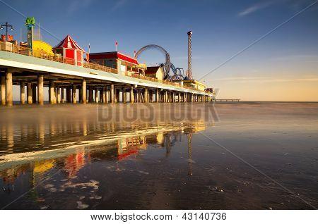 Galveston Pleasure Pier At Dusk