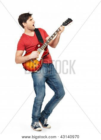 Young Guitarist Plays On The Electric Guitar