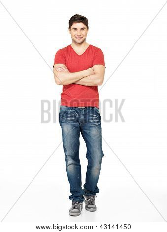 Full Portrait Of Happy Handsome Man In Casuals
