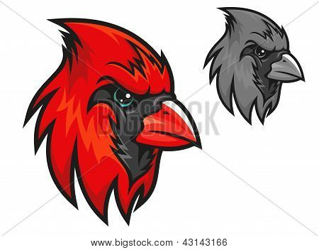 Red cardinal bird in cartoon style