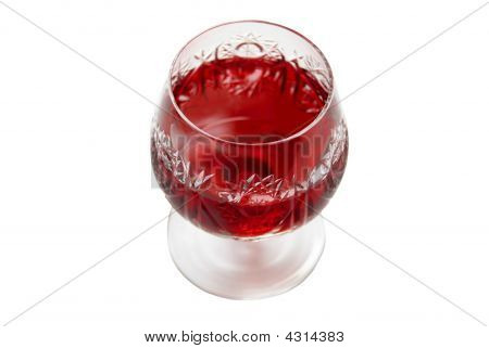 Beautiful Crystal Wine Glass With Red Wine.