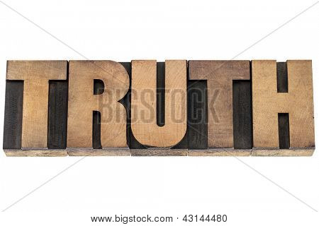 truth  - isolated word in vintage letterpress wood type printing blocks