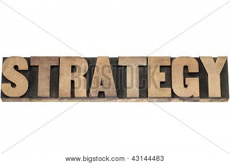 strategy  - isolated word in vintage letterpress wood type printing blocks