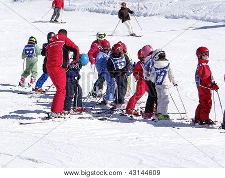 French Children Form Ski School Groups