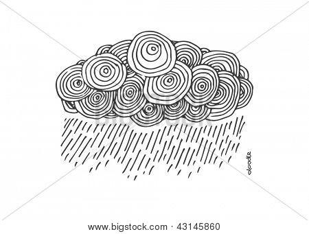 Hand-drawn doodle cloud. eps8