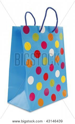 Colorful blue dotted shopping bag