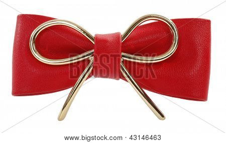 Red ribbon bow tie badge