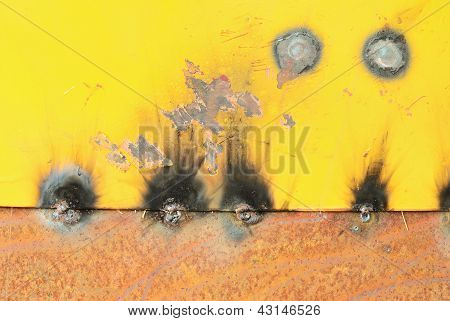 Burn After Welding On The Old Metal Plate Texture Background