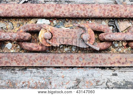 Close Up On A Joint Of Old Chain