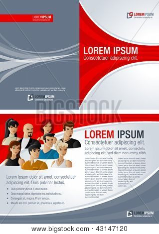 Red and gray template for advertising brochure with young people