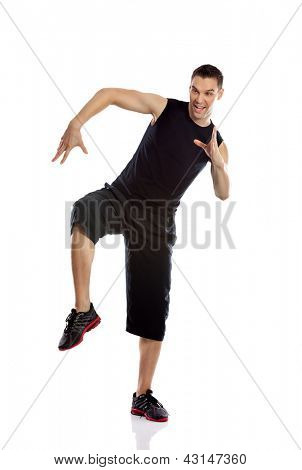 fitness man dancing isolated on white in full body