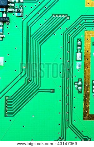 Close Up On A Line Of The Old Electronic Circuit Boards  Background
