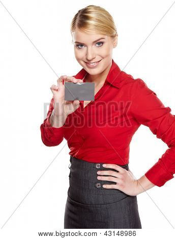 Businesswoman holding credit card. Isolated on white