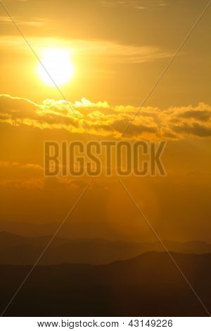 Sunset Over Mountain