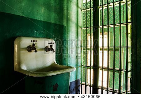 Grungy Sink In A Prison